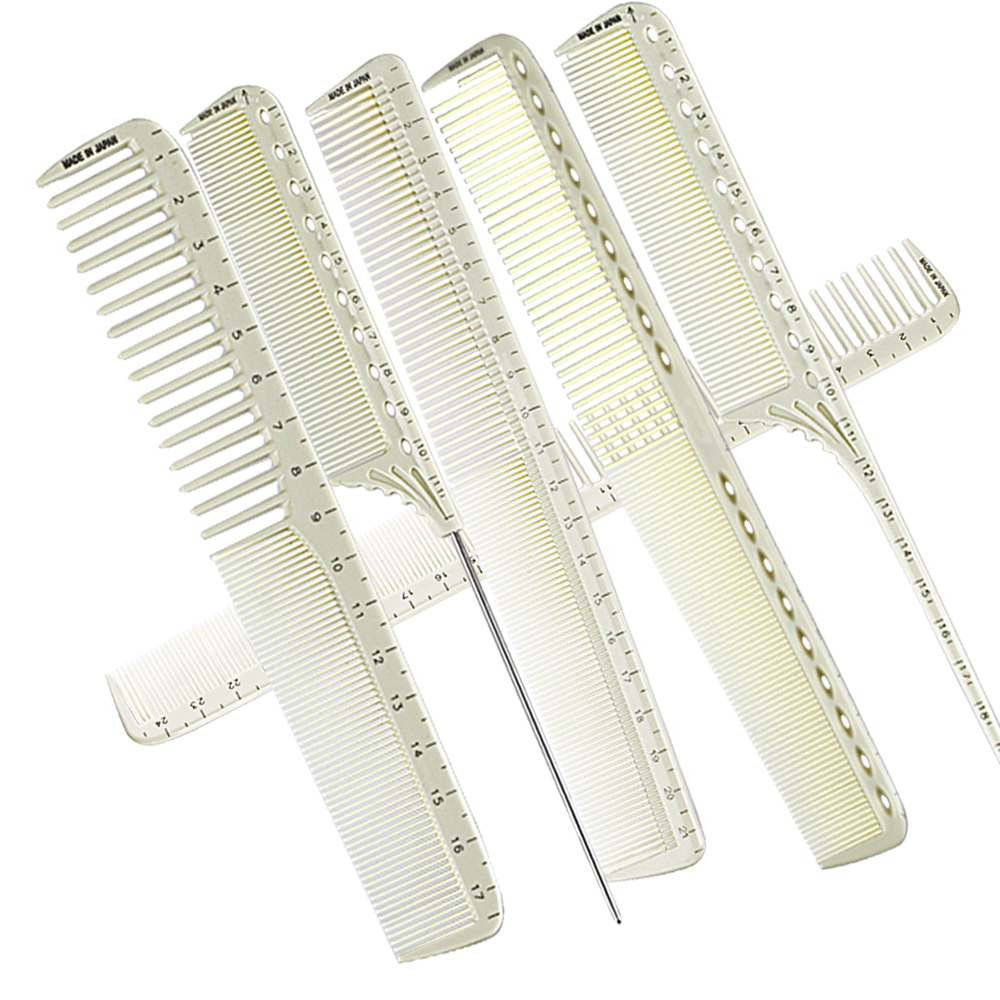 High Quality Antistatic Measure Hairdressing Comb For Professional Hairstyling Resin Salon Hairdresser Cutting Comb In 6 PCS Set