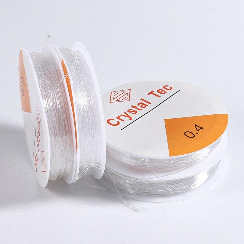 1 rulo 0.4-1.2MM şeffaf esnek elastik iphalat hattı kablosu boncuk boncuk takı yapımı için DIY bilezik kolye