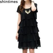 Женское шифоновое платье с оборками свободного покроя