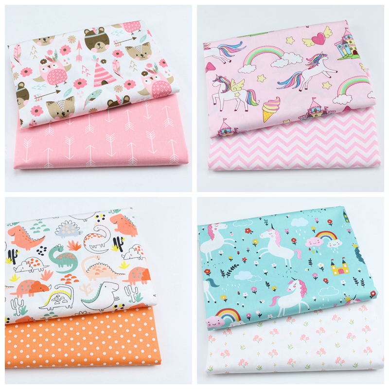 2PCS Unicorn, Floral 100% Cotton Printed Fabric For Making Clothes Sewing Bed Sheet Patchwork Cloth DIY Fabrics For Baby Child(China)