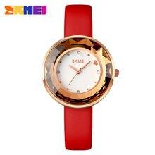 Skmei брендовые кварцевые часы для женщин модный кожаный ремешок