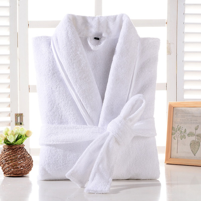 Terry Robe Men 100% Cotton Bathrobe Lovers Brown Robes Men Bathrobe Solid Towel Fleece Long Robe Sleepwear Bridesmaid Robe White