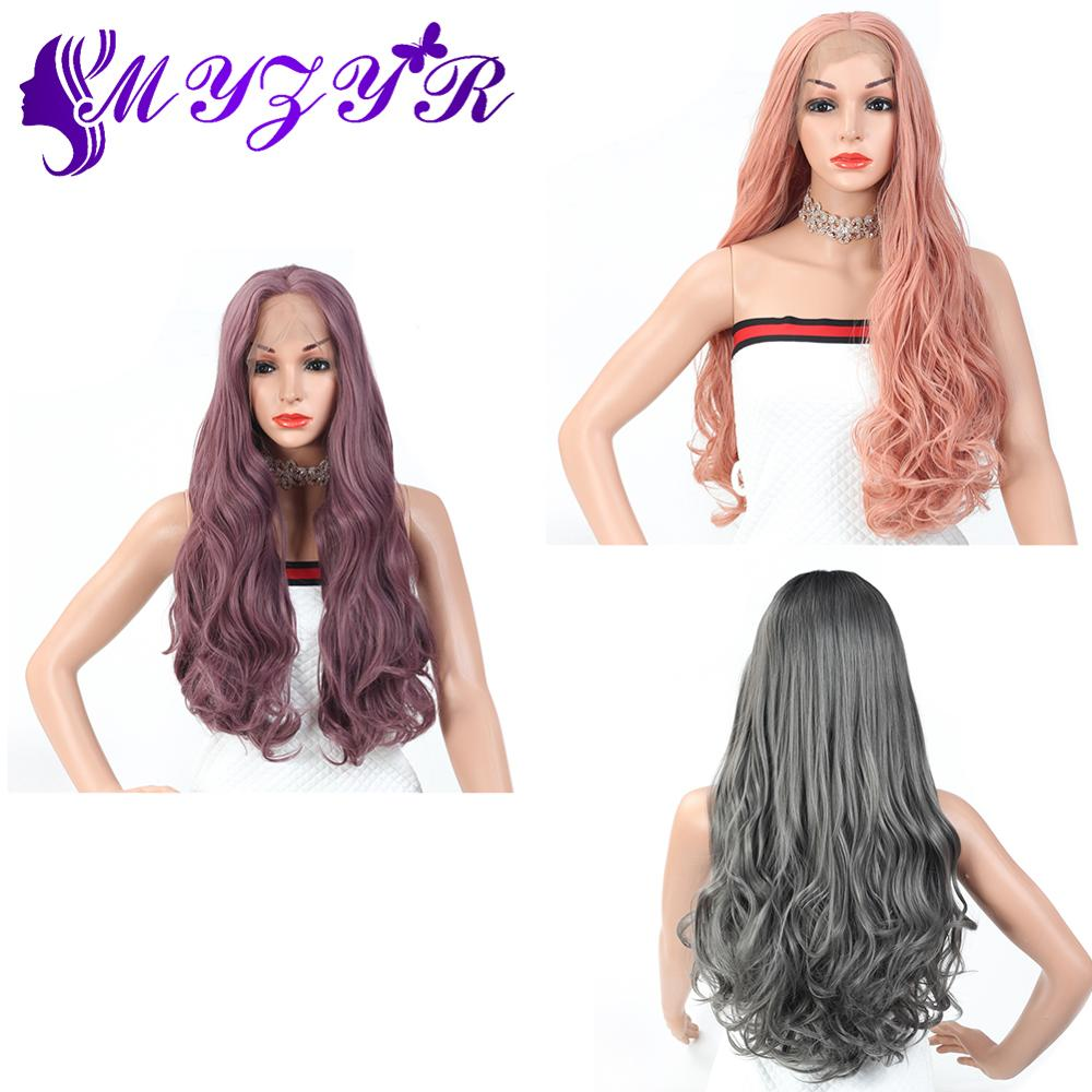 ZYR Wigs Body Wave 13X3 Lace Front Wig Middle Parting High Temperature Fiber Women Wigs 28 Inches Synthetic Hair  Color Mixing