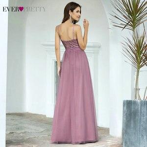 Image 2 - Длинные платья для выпускного вечера 2020 EP07455OD Элегантные платья трапециевидной формы с v образным вырезом из тюля для свадебной вечеринки с блестками Vestidos De Fiesta Elegantes Largos