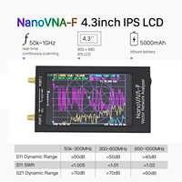 Analizador de red vectorial portátil, medidor Nano SWR de 4,3 pulgadas, nanovna-f VNA, 50KHz-1000MHz, IPS, TFT, Digital de onda corta MF HF VHF