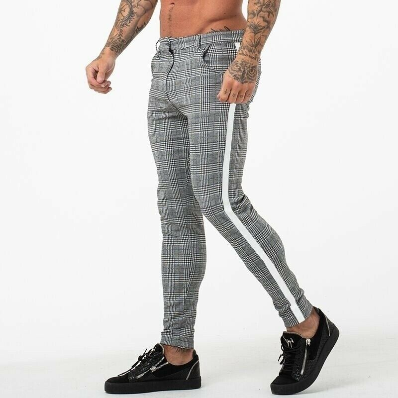 Hirigin New Mens Grid Casual Slim Fit Skinny Stripe High Waist Pants Jogging Pants Long Pants Trousers