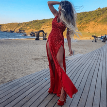 Yesexy 2019 Sexy Deep V Neck Sequins Backless Two Split Women Maxi Dress Solid Color Spaghetti Strap Party Dresses VR8398