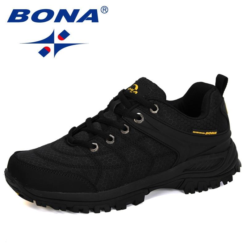 BONA 2020 New Designers Popular Hiking Shoes Man Nubuck Leather Mesh Outdoor Men Sneakers Climbing Shoes Men Sport Shoes Trendy