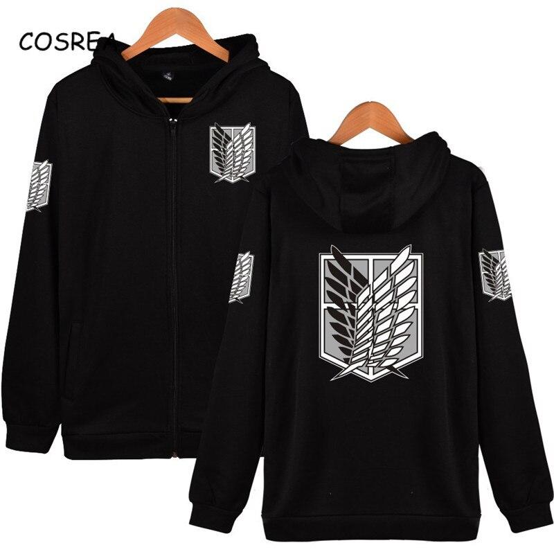 Attack on Titan Hoodies Cosplay Shingeki No Kyojin Jackets Costumes Survey Corps Logo Coats Men's Sweatshirts Big Size Men Women