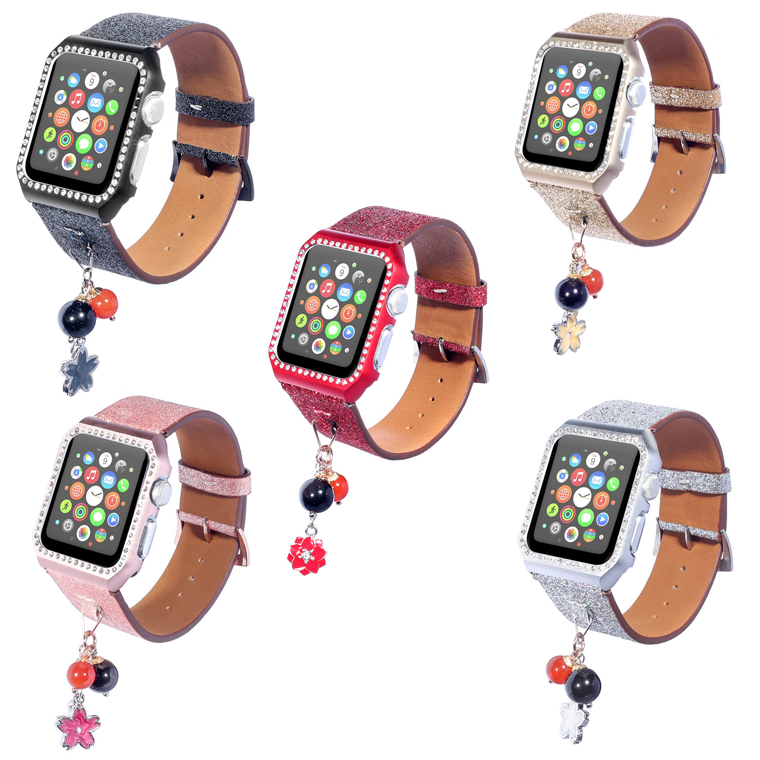 Suitable For AppleWatch Smart Watch One Two Three Generation Shimmering Powder Sequin Star Round Ball Hanging Decoration Leather
