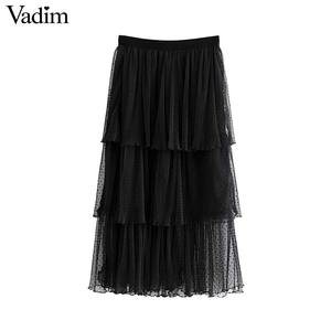Image 1 - Vadim 여성 세련된 블랙 메쉬 스커트 다층 프릴 탄성 허리 여성 중반 송아지 캐주얼 세련된 스커트 ba800