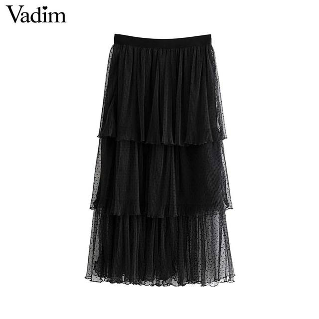 Vadim 여성 세련된 블랙 메쉬 스커트 다층 프릴 탄성 허리 여성 중반 송아지 캐주얼 세련된 스커트 ba800