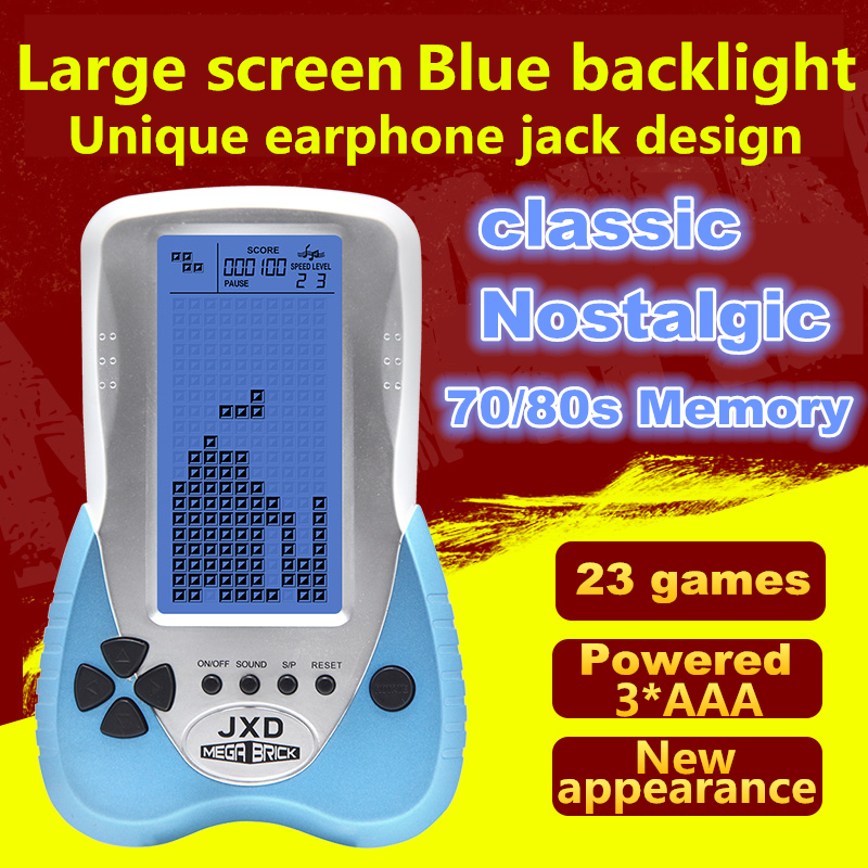 New Brick Game Console Big Screen Tetris Game Console Support Headphone with 23 games Powered by 3*AAA or Li-battery Gift Toy