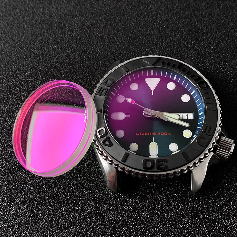 Double dome with Slotted edge Sapphire glass Slopping Ceramic Bezel set replace Parts For Seiko  SKX007 Sport5SPRD