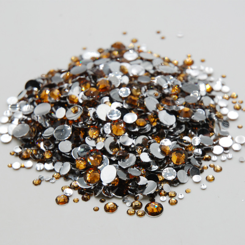 High quality brown mixed size non-heat fixed stone flat back resin crystal rhinestone DIY nail art design decorative accessories