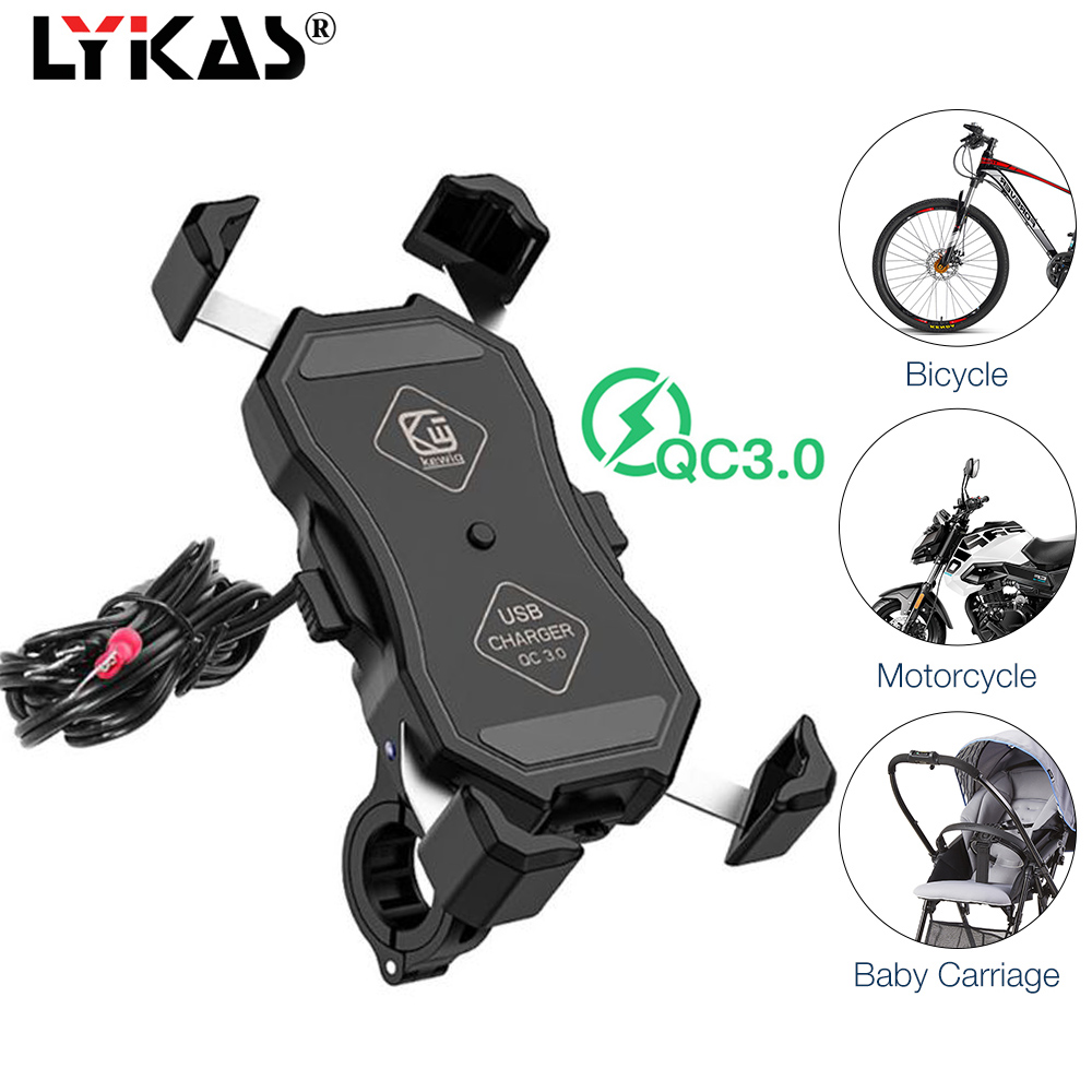 LYKAS Motorcycle Phone Holder 3.0 Quick Charge Bicycle Handlebar Mobile Phone Mount USB Charger 360 Degree Rotation Waterproof