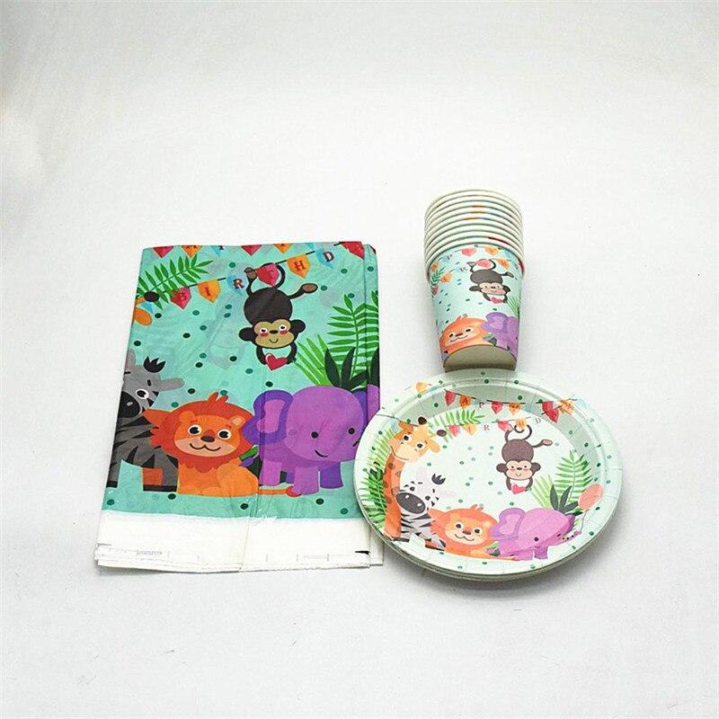 Disapoable набор посуды для детей тарелки чашки скатерть Милый Мультфильм Сафари животные принты для домашнего декора день рождения принадлежности