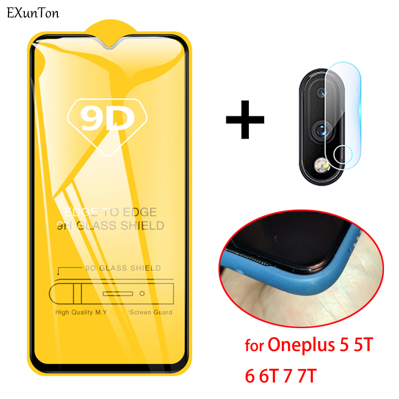 New 9D Tempered Glass For OnePlus 7 T 7T 6 6T 5 5T Glasses Screen Protector For One Plus 7 7T 6 6T 5 5T Black Full Cover Film