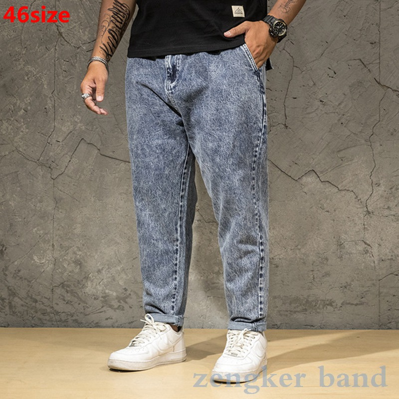 Spring Stretch Jeans Men's Loose Straight Business Casual Middle-aged Black And Blue Plus Size XL Trousers 46 44