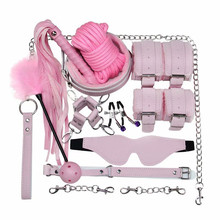 sex toys for woman bdsm slave bondage 10pcs Couple flirting Handcuffs Nipple clip Whip ass gag Eye mask Adult supply store