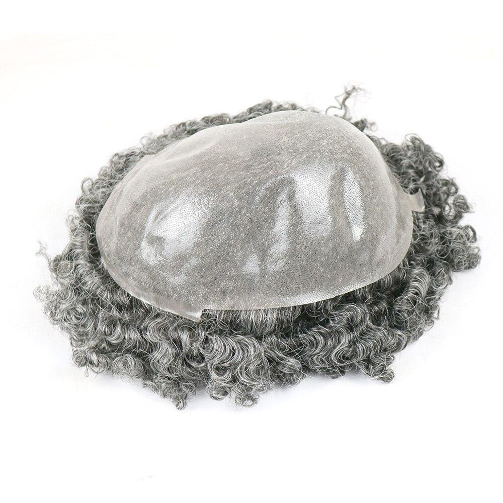 Image 4 - 1B40 グレー髪フルスキン男性かつら 15 ミリメートルカーリー人毛かつら男性のための交換システムかつらヘアピース   -