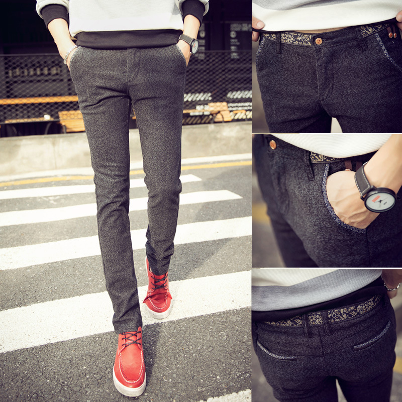 Cargo Foot! Autumn Casual Pants Men's Korean-style Trend Elasticity Slim Fit Pants Dark Gray Straight-Cut Men Students Men's Tro