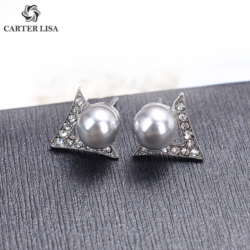 CARTER LISA Silver Triangle Pearl Statement Small Stud Earrings For Women Girl Fashion Modern Jewelry Findings Party Gifts