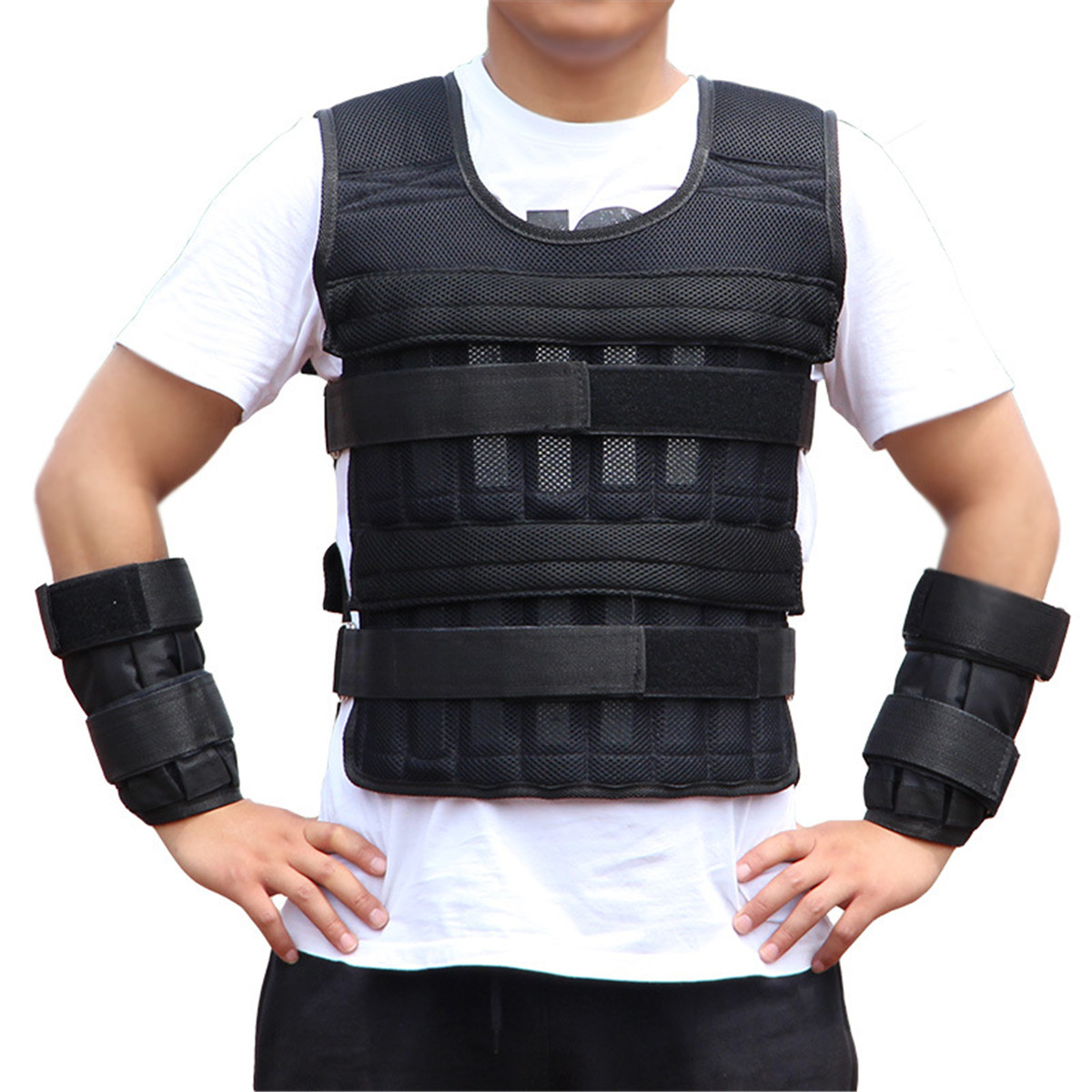 15kg 30kg Exercise Weight Vest Suit Running For Boxing Training Shank Training Adjustable Waistcoat With Hand Wrists / Leg Wrist