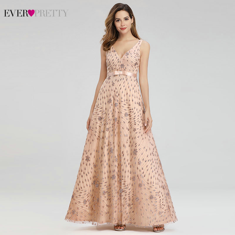 Elegant Rose Gold Prom Dresses Long Ever Pretty Bow Sashes A-Line V-Neck Sexy Sparkle Party Gowns For Women Vestido De Gala 2020