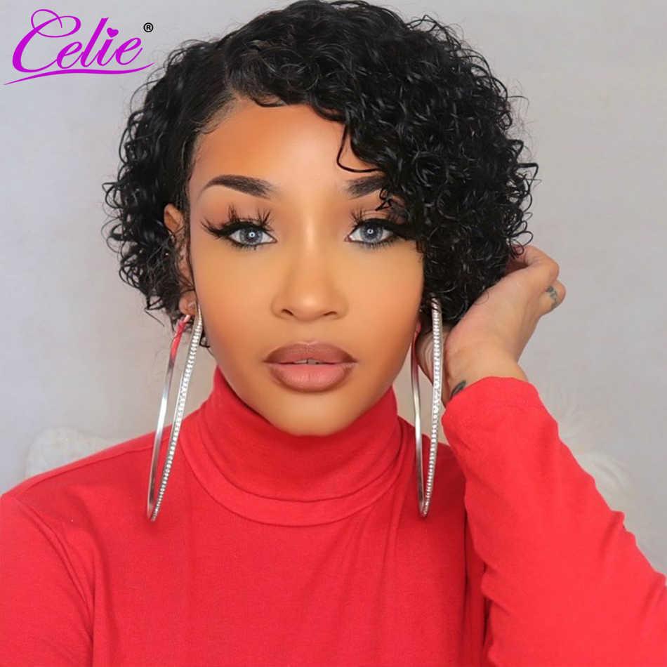 Celie pelucas de cabello humano corte Pixie peluca para mujeres 4x4 Peluca de cierre 13x4 Bob pelucas de encaje frontal peluca corta pelucas de cabello humano frontal de encaje