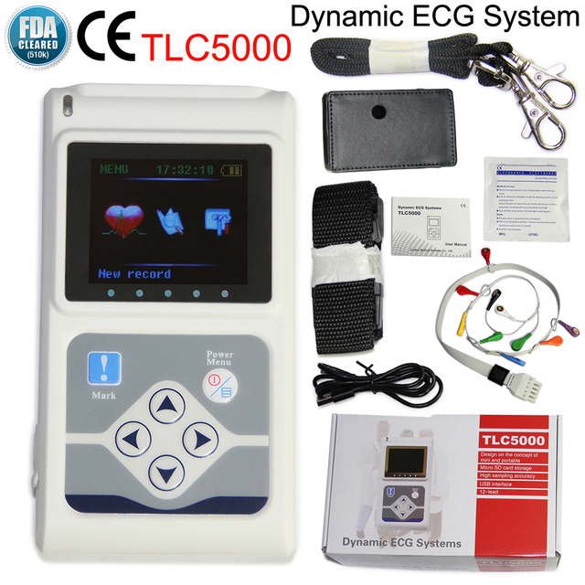 TLC5000 Handheld Dynamic ECG Machine EKG Holter 12 lead 24h Analyzer Recorder Electrocardiograph Monitor Health Care+PC Software 5