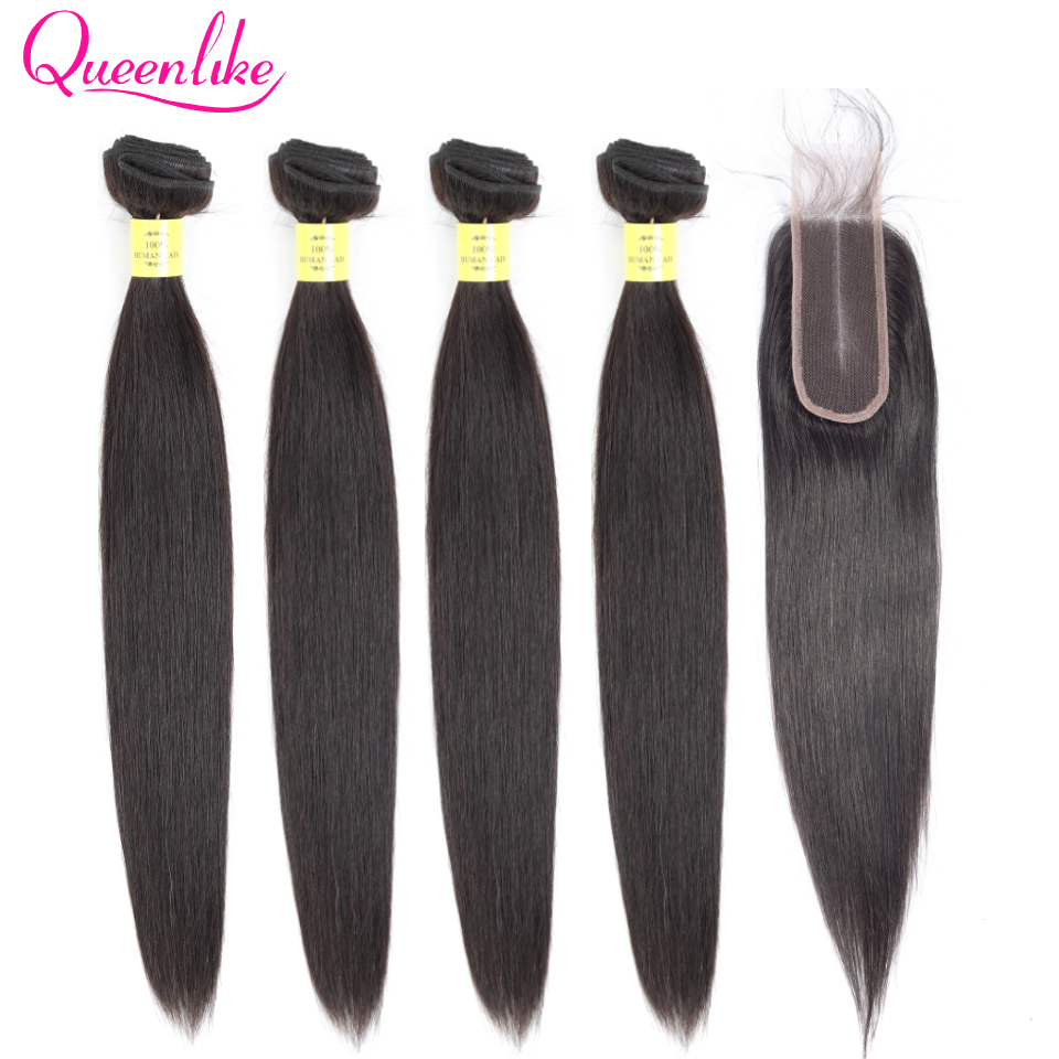Queenlike Straight Brazilian Hair Weave Bundles With 2x6 Kim Kardashian Closure Non Remy 4 Pcs Human Hair Bundles With Closure