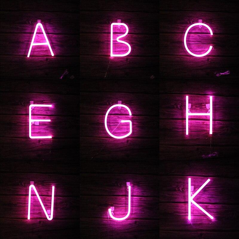 Led pink fada luzes de néon carta usb bateria operado festão guirlanda interior para o quarto parede casamento decoração natal