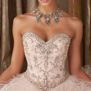 Image 3 - ライトピンク 16 ドレス大人のドレスノースリーブ夜会服フリルビーズスパンコールレースアップ格安誕生日パーティードレス