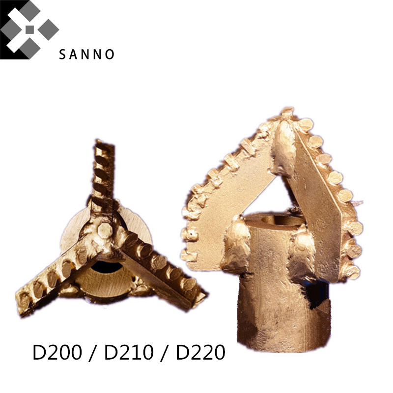 3 Wings Drill Bits D200 / D210 / D220 Drag Cutter Three Blade Mining Drills Tool Suitable For 42 / 50 Drill Pipe