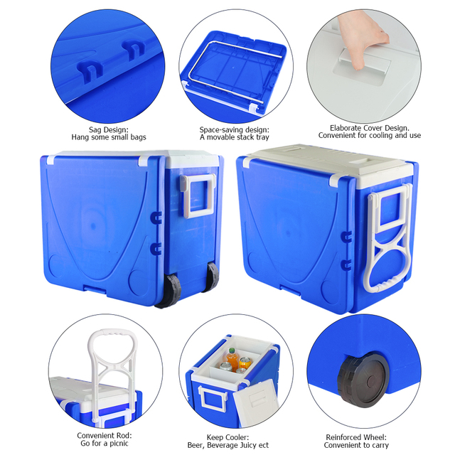 Outdoor Picnic Foldable Multi-function Rolling Cooler Stool  6