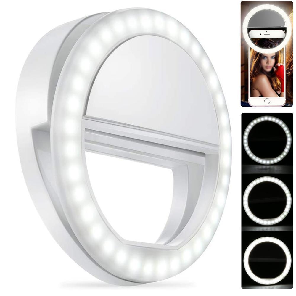 USB Rechargable Selfie Portable LED Ring Fill Light Camera Flash Makeup Clip Light For IPhone SE 11 8 7 6 Plus Samsung