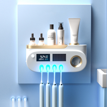Sterylizator UV do szczoteczki do zębów automatyczny dozownik pasty do zębów pudełko do dezynfekcji szczoteczek do zębów pasta do zębów wyciskacz uchwyt na szczoteczki do zębów do łazienki tanie i dobre opinie CRMBO CN (pochodzenie) Z tworzywa sztucznego Toothbrush Holder Toothpaste Dispenser USB Light energy storage DC3 7V 320MN-400MN