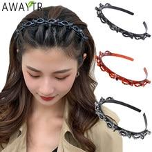 AWAYTR-Diadema deportiva Unisex para hombres y mujeres, banda para el pelo de Alicia, aro de Metal, doble flequillo, horquilla para peinado, accesorios para el cabello