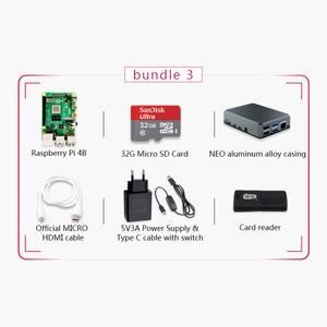 Image 4 - מקורי פטל Pi 4 דגם B 4G ערכת Pi 4 לוח מיקרו HDMI כבל אספקת חשמל עם מתג מקרה עם מאוורר חום כיורים