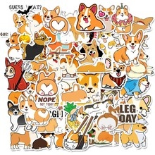 50pcs Self-adhesive Cute Corgi Dog Scrapbooking Stickers Fruits DIY Craft Sticker Pack Photo Albums Diary Decor  Sticker