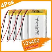 1/2/4 литий-полимерный аккумулятор высокой емкости 103450 3,7 в 2000 мАч литий-полимерный MP5 GPS Bluetooth колонки солнечные лампы