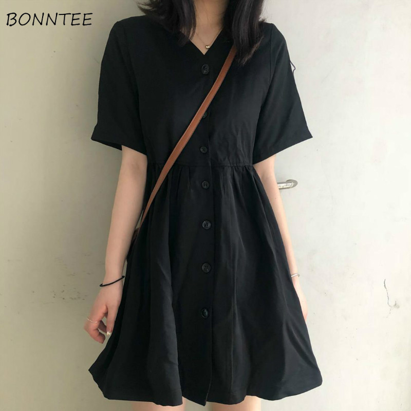 Dress Women A-line Pleated Black Dresses Preppy Style Harajuku V-neck Girls Summer Loose Hot Selling Simple Basic All-match Chic