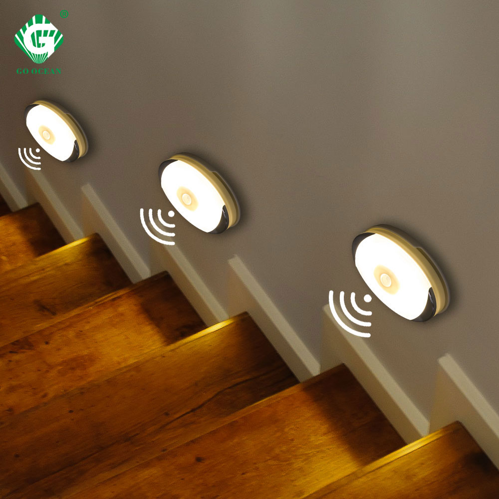 Wireless Motion Sensor LED Under Cabinet Light Battery Powered Wardrobe Closet Smart Puck Lights Kitchen Cupboard Night Lamp