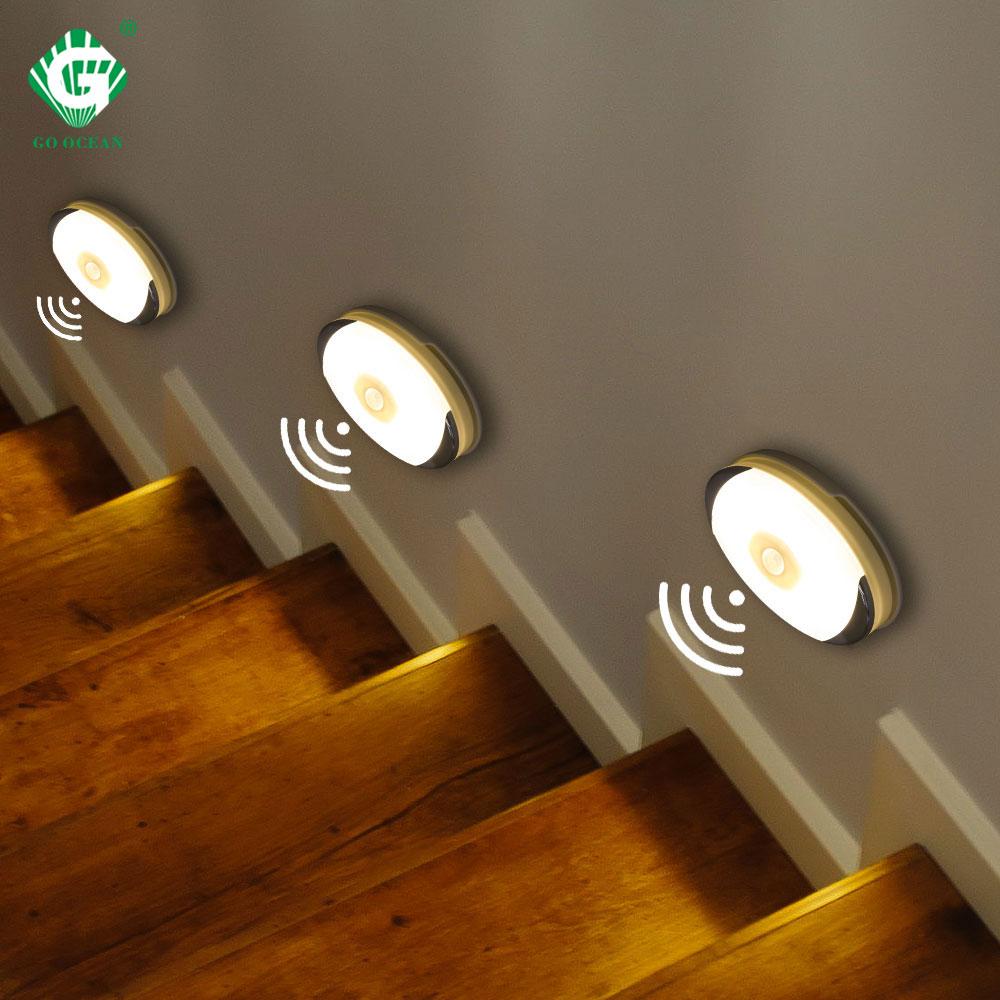 Wireless Motion Sensor LED Under Cabinet Light Battery Powered Wardrobe Closet Smart Puck LightsKitchen Cupboard Night Lamp
