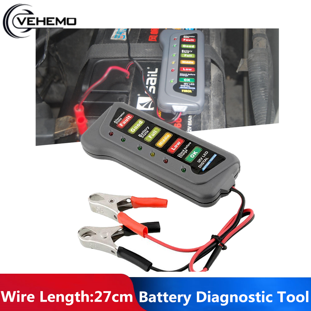 VEHEMO 12V Digital <font><b>Battery</b></font> / Alternator Tester <font><b>Car</b></font> Vehicle <font><b>Battery</b></font> <font><b>Diagnostic</b></font> <font><b>Tool</b></font> <font><b>Battery</b></font> Alternator State Check 6-LED Display image