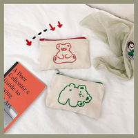 SIXONE Ins Concise Embroidery Bear Pencil Case Cosmetic Bag Kawaii Large Capacity Student Canvas Storage Bag School Stationery