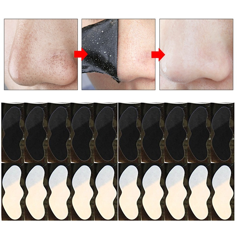 10pcs Nose Blackhead Remover Mask Skin Care Shrink Pore Charcoal Mask Deep Nose Pore Cleansing Strips Black Head Remover