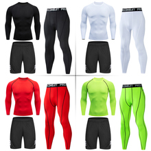 New Tight Sportwear Men's Compression Sport Clothing Suit Gym Long Sleeve T-shirt Pants Rashguard MMA Men Shirts Fitness Clothes