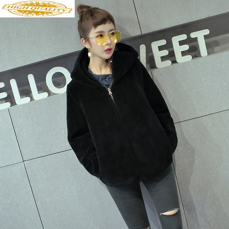 Real Fur Coat Female Jacket Winter 2020 Sheep Shearing Wool Fur Coats For Women Fall With Hat Manteau Femme Hiver KJ995